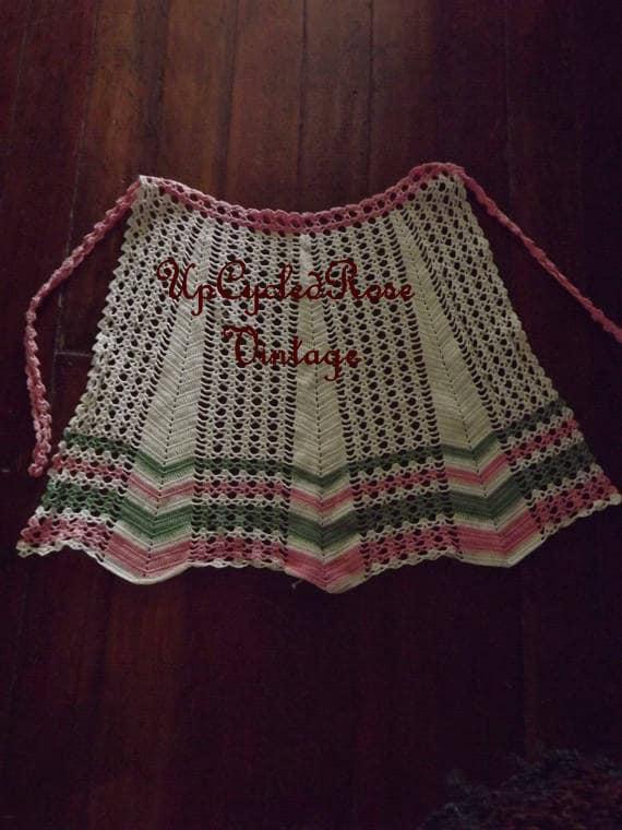 Vintage Hand Crochet Cotton Apron Ready to Ship
