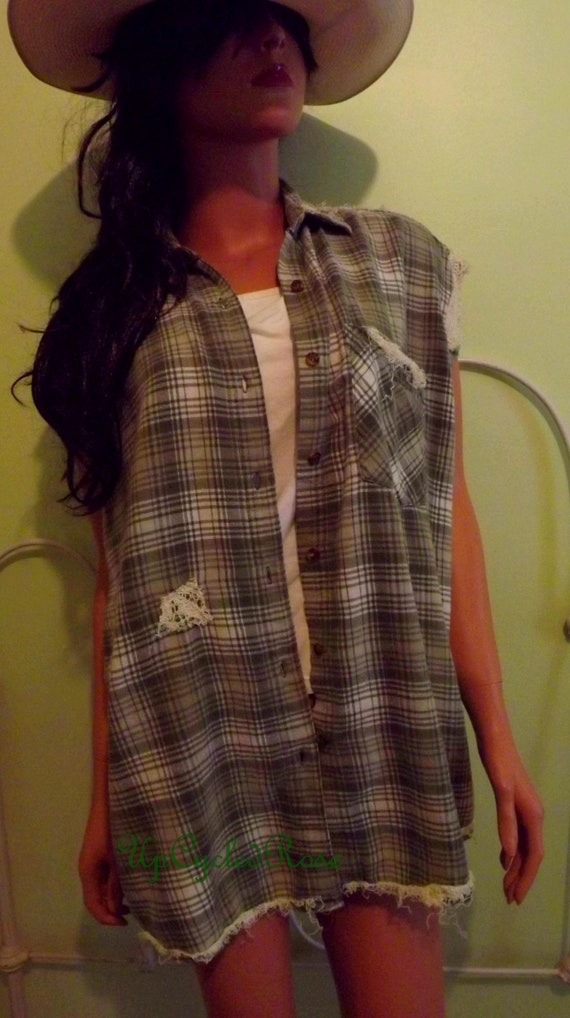 Not my Boyfriends Shirt Up-cycled Flannel Glam Sleeveless Button Down Shirt