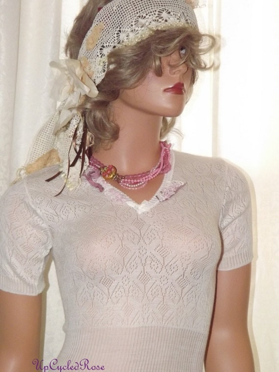 An Evening In Paris French Silk Under Shirt Silk Tunic  By Upcycled Rose