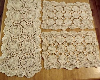 Vintage Hand Crochet Table Scarves set of 3 Farmhouse Collection Shabby Chic Vintage Decor Shios FREE in USA Next Day