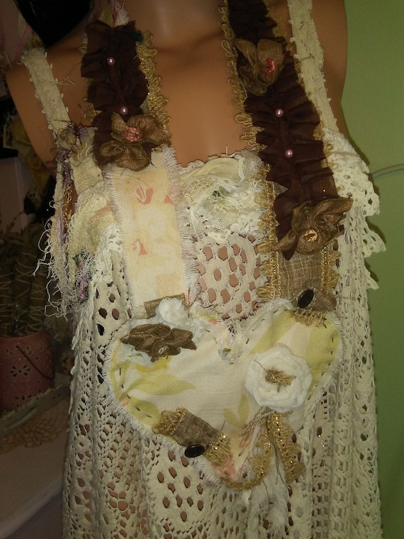 Shabby Couture Ragg Bag Glam Hand Made Neck Lace Ready to Ship