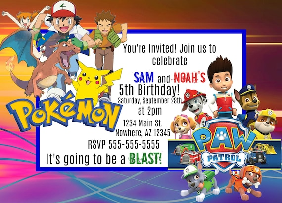 photo about Paw Patrol Printable Invitations named Pokemon and Paw Patrol Printable Invitation