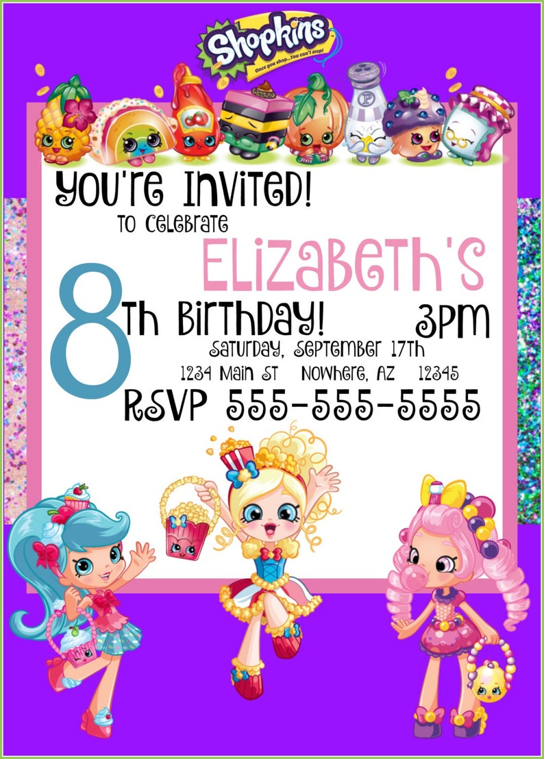 graphic regarding Shopkins Printable Invitations identified as Shopkins printable invitation