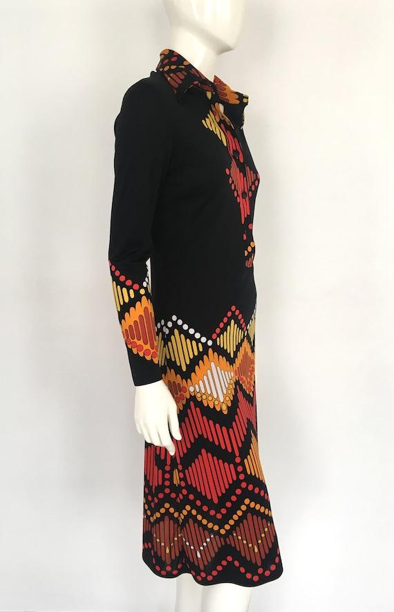 Vtg LANVIN SHIRT DRESS Graphic Abstract 1960s 197… - image 4