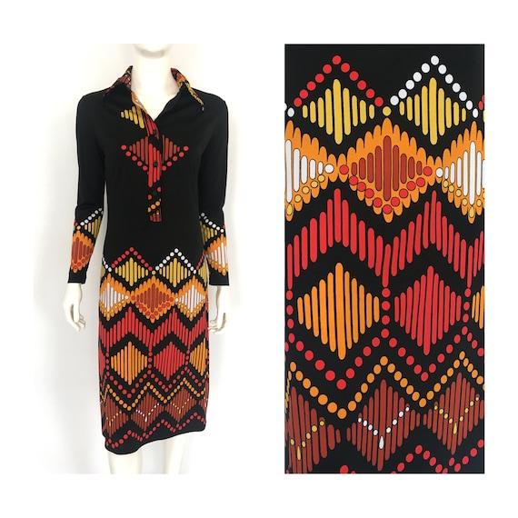 Vtg LANVIN SHIRT DRESS Graphic Abstract 1960s 197… - image 1