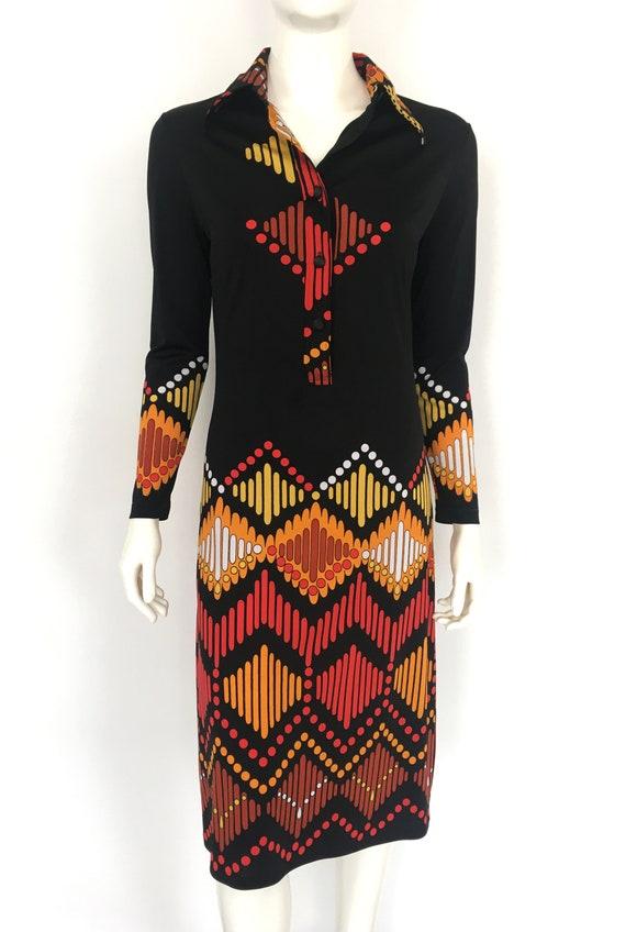 Vtg LANVIN SHIRT DRESS Graphic Abstract 1960s 197… - image 2