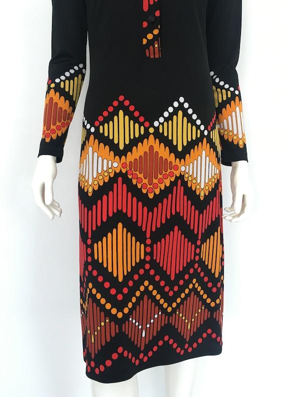Vtg LANVIN SHIRT DRESS Graphic Abstract 1960s 197… - image 7