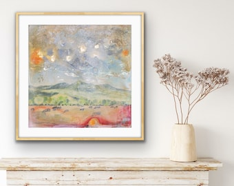 Pretty Abstract of Cows and Mountains Art Print on Paper in Various Sizes • Abstract Colorado Landscape Overlooking Paonia, CO