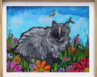 Pretty Ragdoll Cat Art Print by RobiniArt! • Cat Lover Gift • Giclee Art Print of a Long Haired Grey Cat in Flowers • Beautiful Cat Art