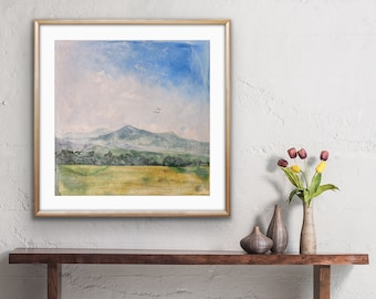 Mountain Landscape Art Print • Pastoral Abstract Landscape Overlooking Paonia, Colorado • Art Print on Paper in Various Sizes