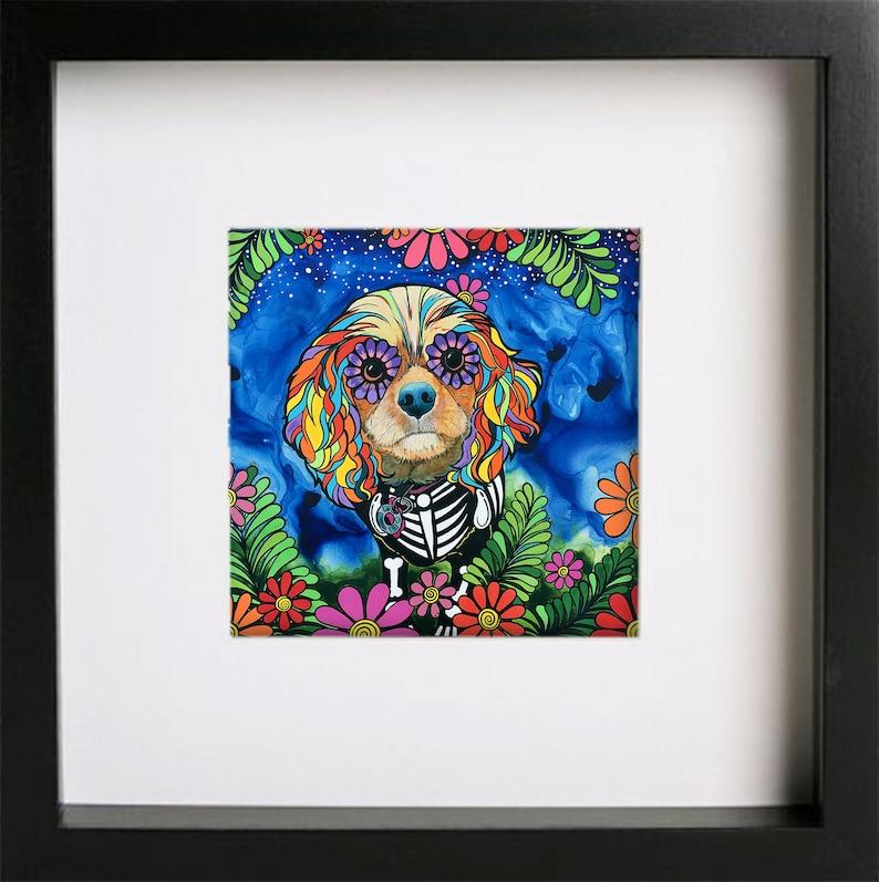 Dog Lover Gift Dog Painting HAND EMBELLISHED Cavalier King Charles Spaniel Fine Art Print by RobiniArt \u2022 Mexican Decor Sugar Skull Dog