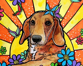 Dachshund Art Portrait Giclee Print by RobiniArt! •  Doxie • Dachshund with Flowers and Butterflies Wall Art •Modern Dog Art • Happy Art