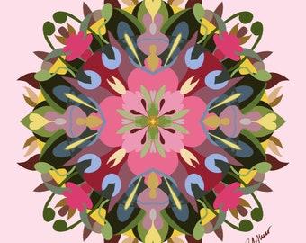 Mandala Art Print • Pretty Pink Mandala Art in Spring Flower Colors • Digitally Drawn • Various Sizes • Professionally Printed