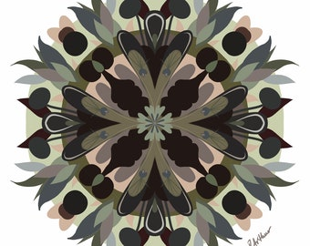 Mandala Art Print in Black, Sage Green and Peach Pink • Digitally Drawn Botanical Mandala • Various Sizes • Professionally Printed & Shipped
