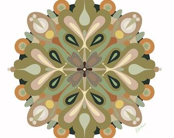 Mandala Art Print • Pretty Mandala Art in Mid Century Modern Colors • Digitally Drawn • Various Sizes • Professionally Printed