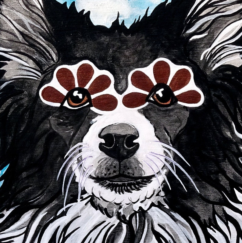 Border Collie with Orange Daisies Giclee Art Print by RobiniArt \u2022 Border Collie Lover Gifts \u2022 Modern Dog Art \u2022 Dog Pop Art \u2022 Dog Lover Gifts