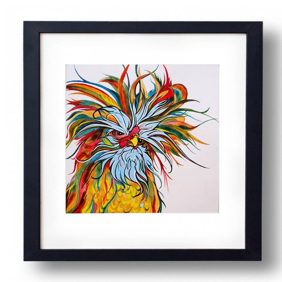 Great Examples For American Kitchen Lovers: Kitchen Wall Decor Chicken Art Chicken Lover Gift Polish