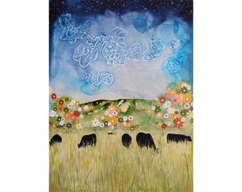 Cow Landscape Art • Cattle Grazing in a Field Artwork • Cow Lover Gift • Cow Artist • Modern Farmhouse Decor • Various Sizes on Paper