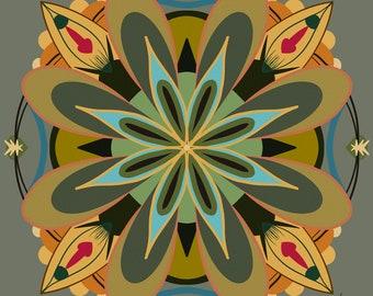 Mandala Art Print • Vintage Style Decorative Mandala Art in Gold, Red and Green • Digitally Drawn • Various Sizes • Professionally Printed