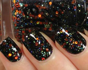 Pumpkin Carousel 12ml Glitter Nail Polish, Halloween Nail Polish, Indie Nail Polish, Fun Holiday Nails, Fall Nail Color, Square Bottle