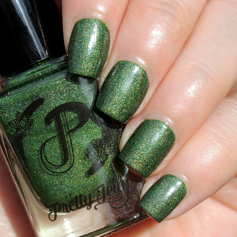 Green Nail Polish Holographic Indie Nail Lacquer Holo Nails   Etsy