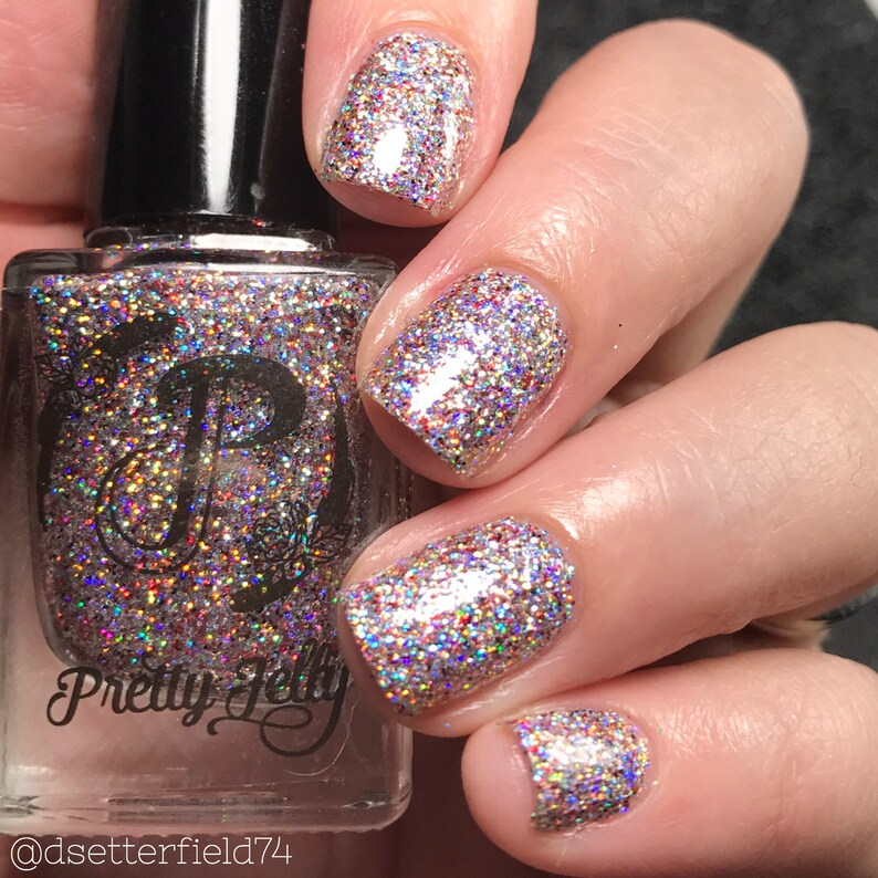 Silver Nail Polish Holographic Glitter Nail Lacquer Indie   Etsy