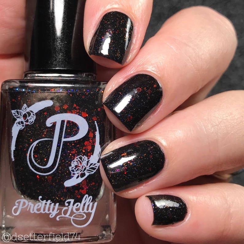 Black Nail Polish Red Glitter Nail Lacquer Indie Nail | Etsy