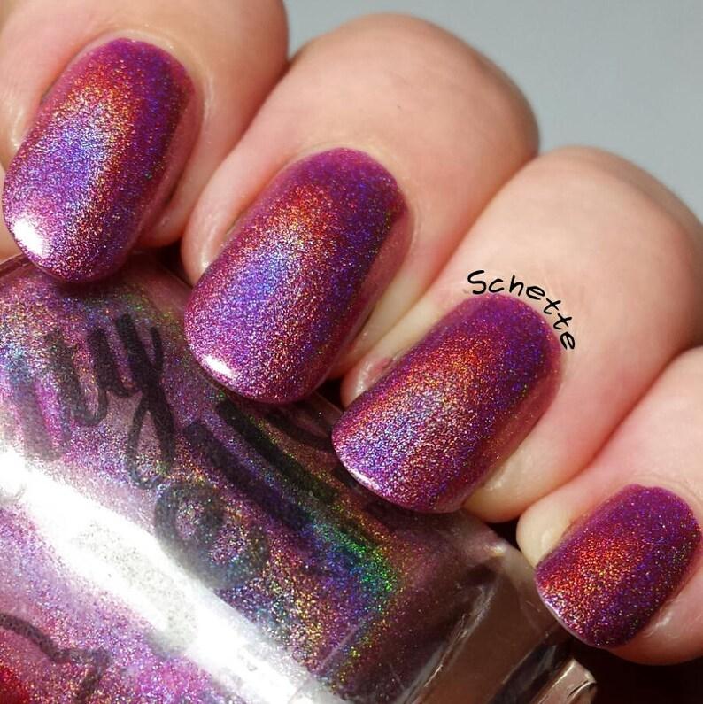 Nail Polish Holographic Nail Lacquer Pink Holo Nails Indie | Etsy