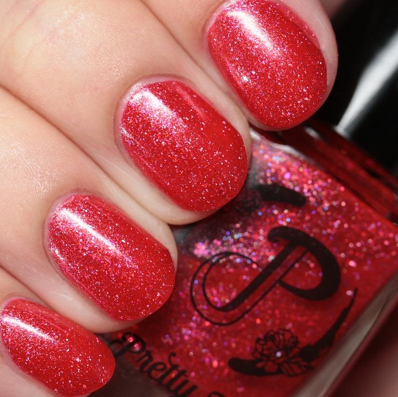 Coral Red Jelly Nail Polish Holographic Flakie Polish | Etsy