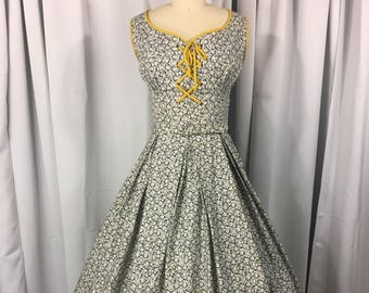 1950's Floral Print Cotton Sun Dress Size M