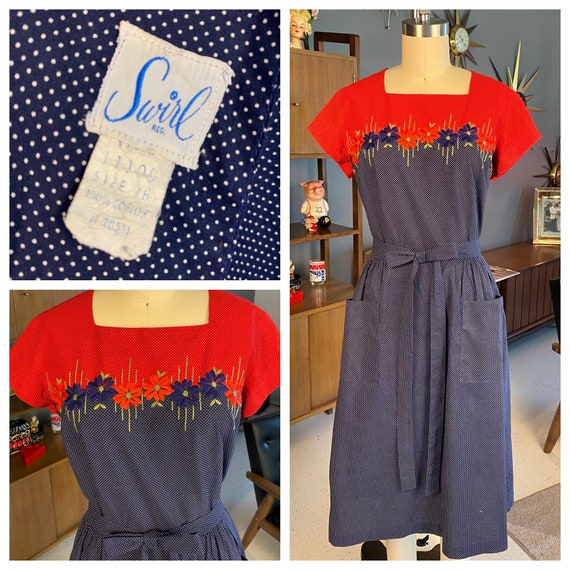 Adorable Blue and Red Dot 1950s Swirl dress with E