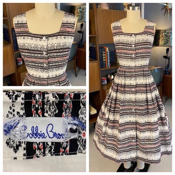 1950s Cotton Bobbie Brooks Striped Sundress Size X