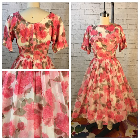 1950's Pink Roses Chiffon Party Dress Size S
