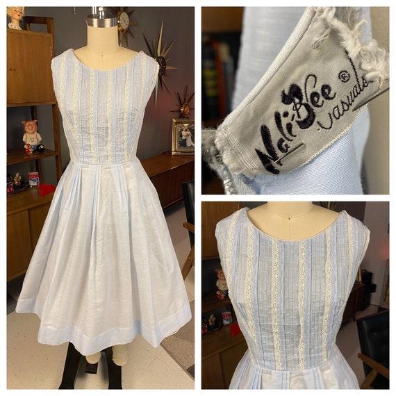 1950's Sheer Ruffled Powder Blue Full Skirted Dres