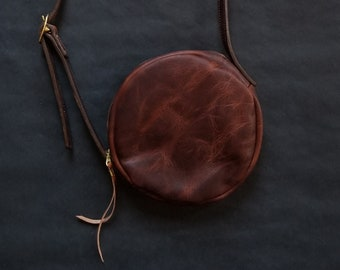 b5c4e0b129e6 Canteen Cross Bag. Leather Purse. Cross Body Bag. Circle Bag. Leather  Circle Bag. Fully Lined Leather Purse. Brass Hardware. Made to Order.