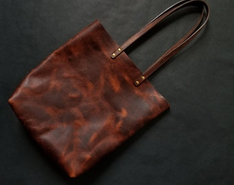 331caeb8cc6c All Leather Tote by Directive. Leather Handles. Leather Day Bag. Large shoulder  Bag. Long Straps