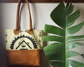 fc8138b8d4b9 Solstice Hand Painted Canvas and Leather Bottom Tote Bag by Directive.  Celery Canvas with Warm Tan Leather. Lined Tote with Leather Straps.