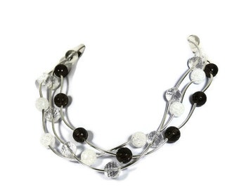 silver quartz necklace, silver gemstone necklace for woman, silver rhinestone necklace, quartz crystal necklace, smokey quartz necklace