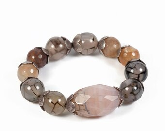 gray pink bracelet, gray quartz, gray gemstone bracelet, pink quartz bracelet, pink bracelets for women, best friend bracelet