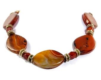 orange agate necklace, orange statement necklace, orange gemstone necklace, agate statement necklace, agate choker, carnelian necklace