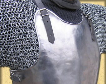 """Larp, larp armor, fantasy, medieval, costume, armor, steel armour: breastplate (front and back) """"Lombard"""""""