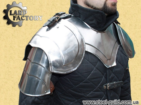 medieval Archangel: a pair elfin shoulders pauldrons Larp fantasy