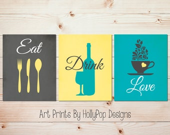 Bon Teal Gray Kitchen Decor Modern Kitchen Print Set Eat Drink Love Fork Spoon  Knife Dining Room Art Kitchen Quotes Kitchen Wall Art Print #1621