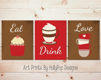 red kitchen decor eat drink love coffee wall art tea art prints cupcake art modern kitchen decor kitchen art prints food drink art 1610 - Red Kitchen Decor