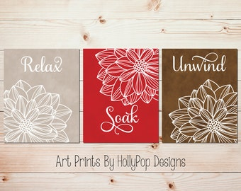 Red Brown Bathroom Decor Bathroom Art Prints Modern Bathroom Wall Art Relax  Soak Unwind Quote Flower Bathroom Prints Dahlia Wall Art #1671