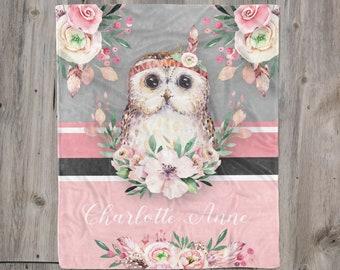 Baby Blanket Baby Girl Blanket Newborn Baby Girl Gift Owls Birds Flowers Monogrammed Blanket Personalized Minky Baby Blanket