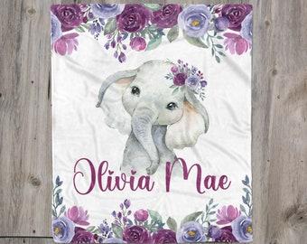 Pink and Purple Elephant Minky Blanket Baby Girl Toddler Girl