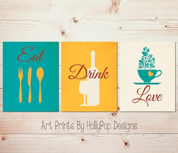 Stampe di arte cucina moderne Teal cucina arredamento mangiare bere amore  cucina arte set cucina citazioni bottiglia di vino arte stampa tazza di ...