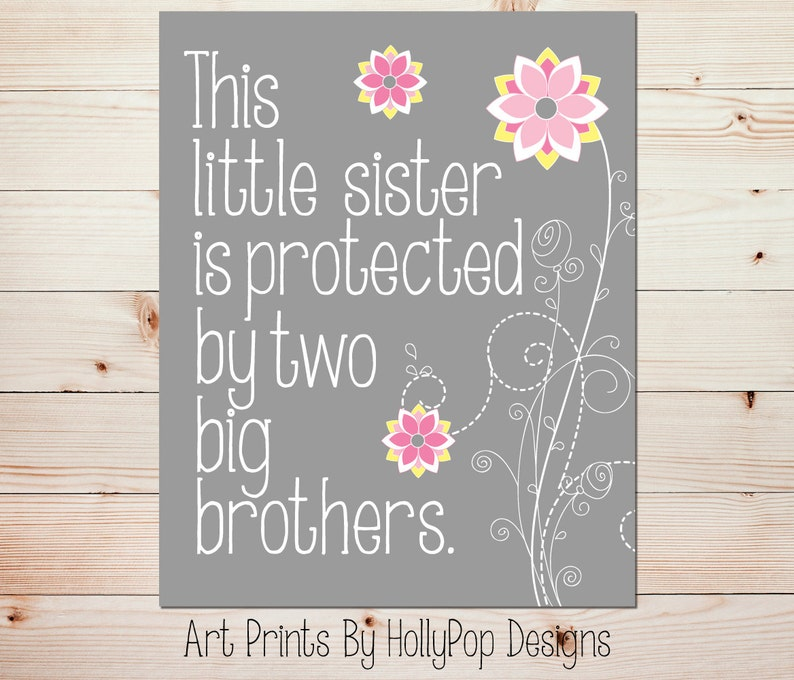 Baby Girl Art Little Sister Print Floral Nursery Quote Etsy
