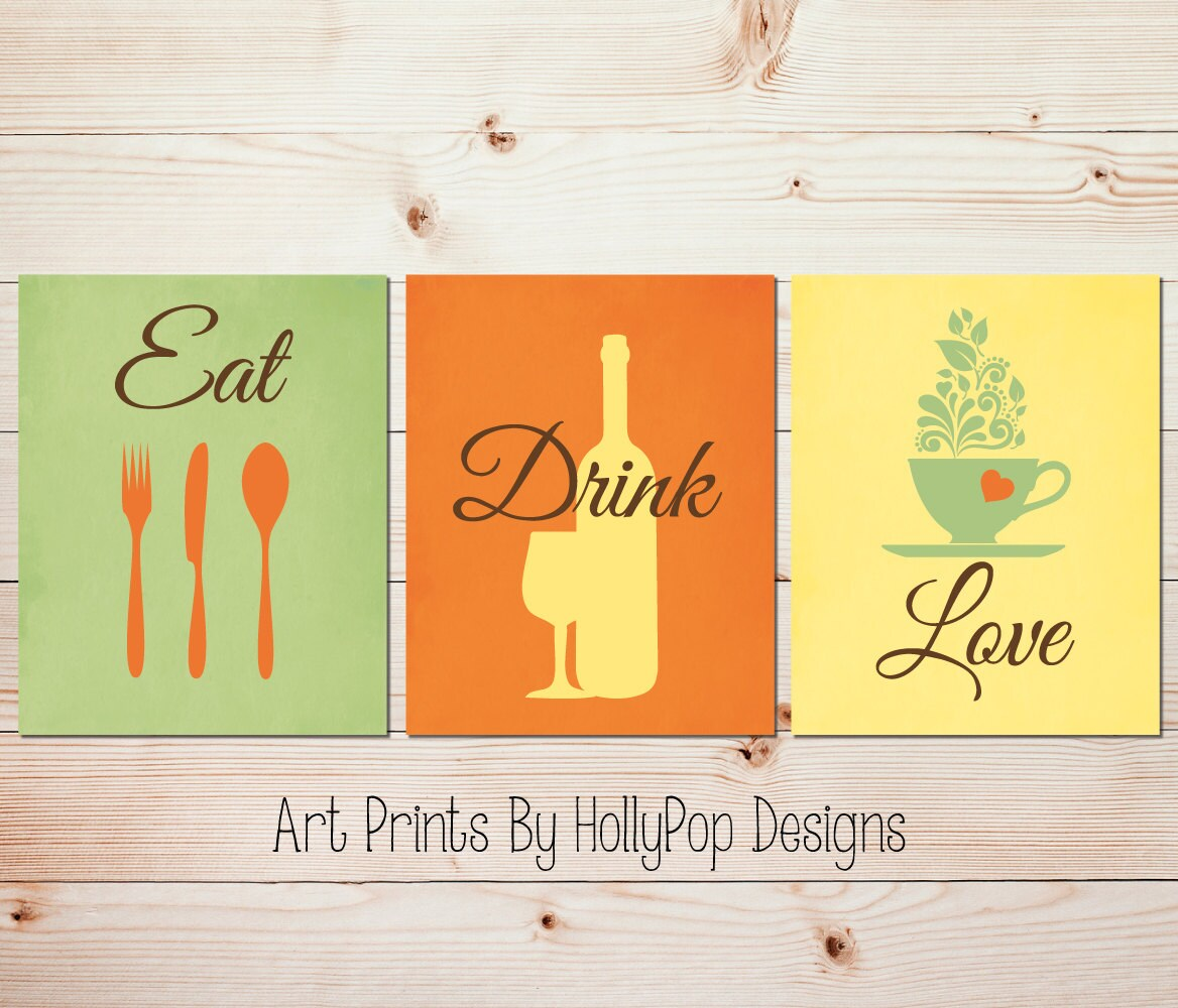 Eat Drink Love Kitchen quotes Modern kitchen decor Fork Spoon | Etsy